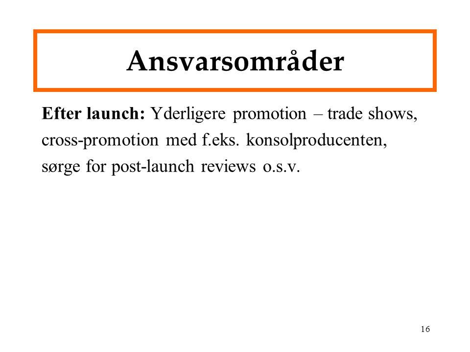 Ansvarsområder Efter launch: Yderligere promotion – trade shows, cross-promotion med f.eks.