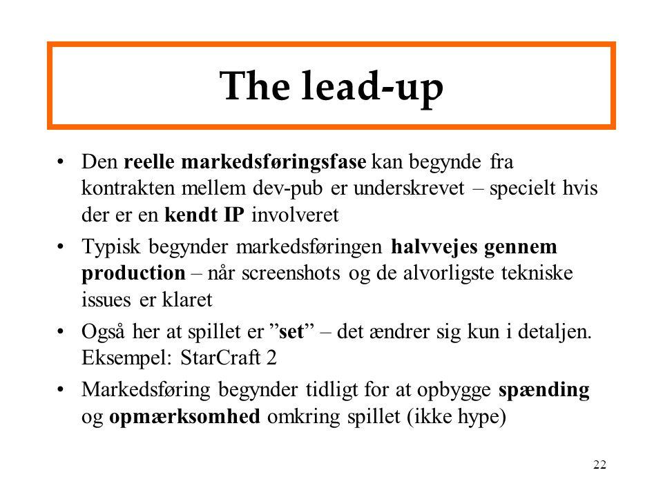The lead-up Den reelle markedsføringsfase kan begynde fra kontrakten mellem dev-pub er underskrevet – specielt hvis der er en kendt IP involveret.