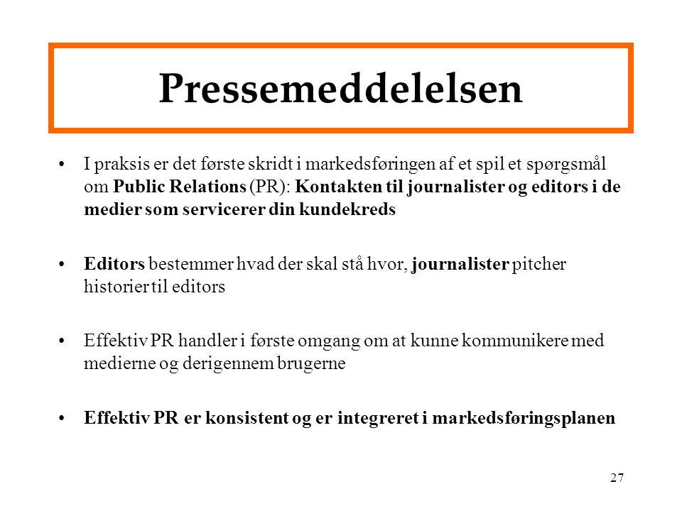 Pressemeddelelsen