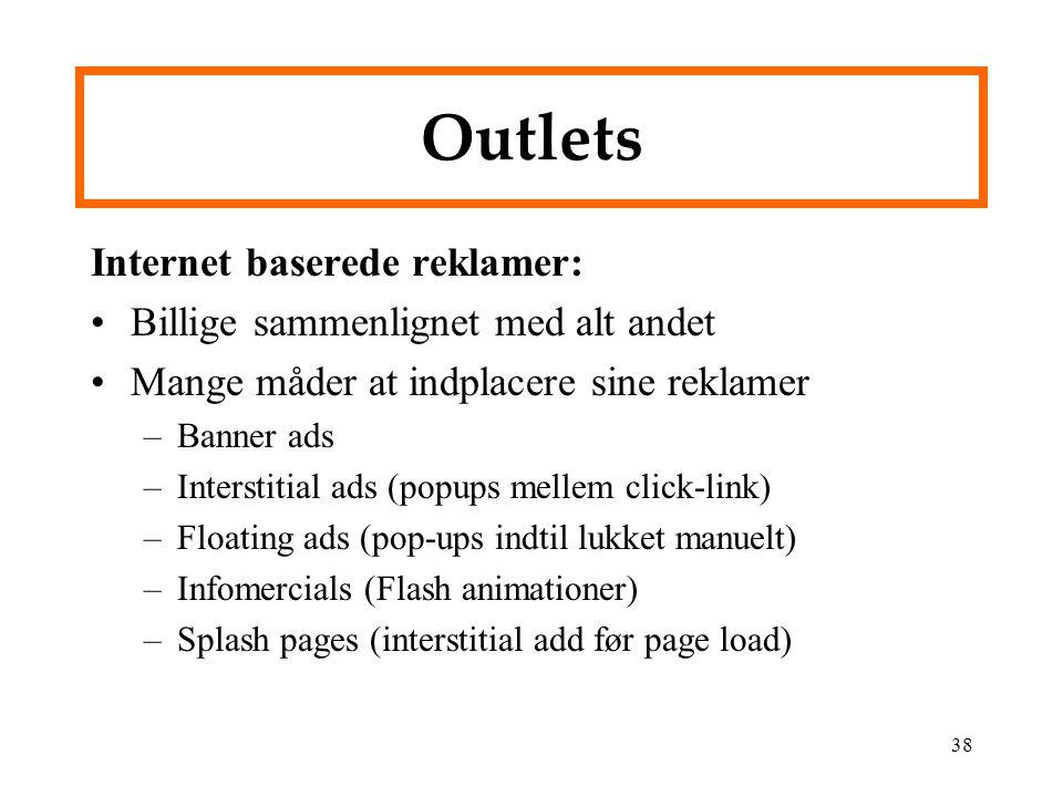 Outlets Internet baserede reklamer: Billige sammenlignet med alt andet