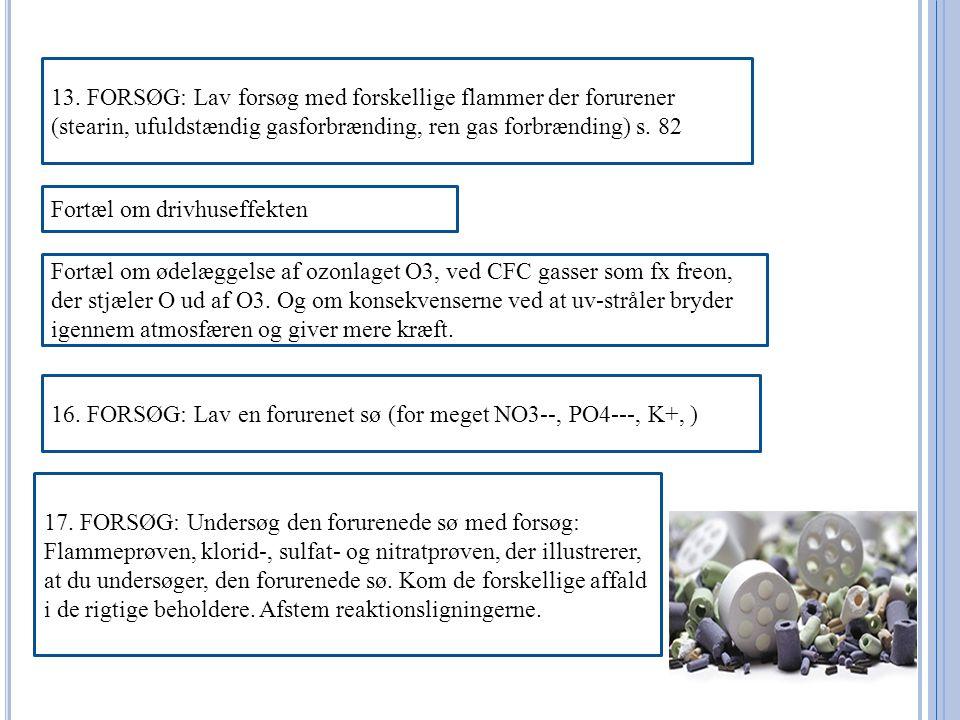 13. FORSØG: Lav forsøg med forskellige flammer der forurener (stearin, ufuldstændig gasforbrænding, ren gas forbrænding) s. 82
