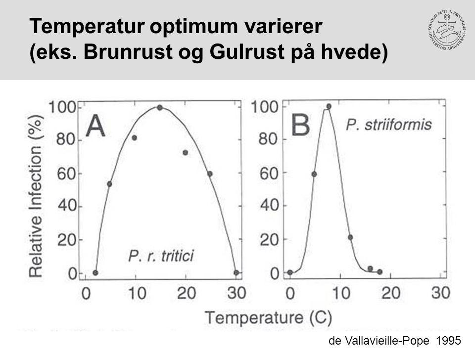 Temperatur optimum varierer (eks. Brunrust og Gulrust på hvede)