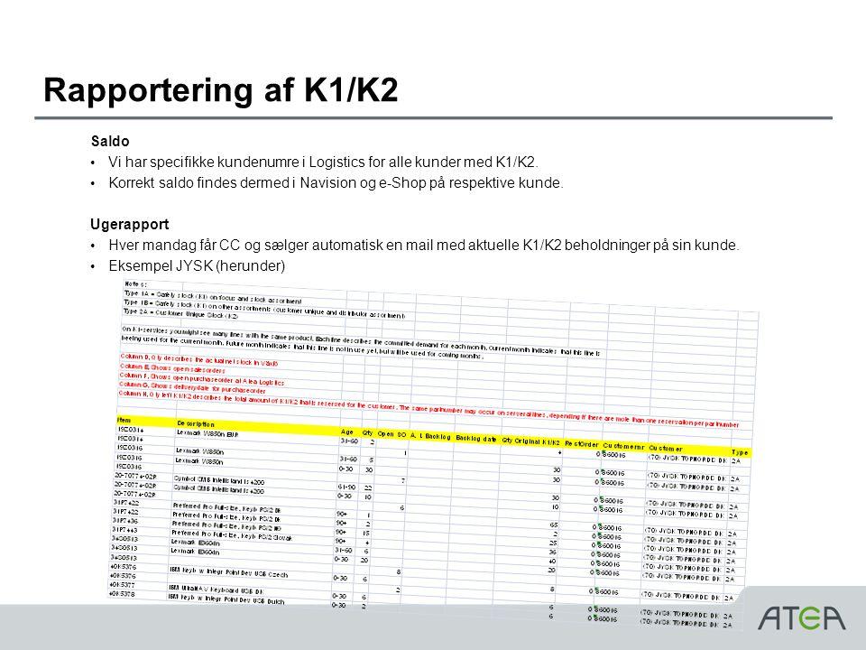 Rapportering af K1/K2 Saldo