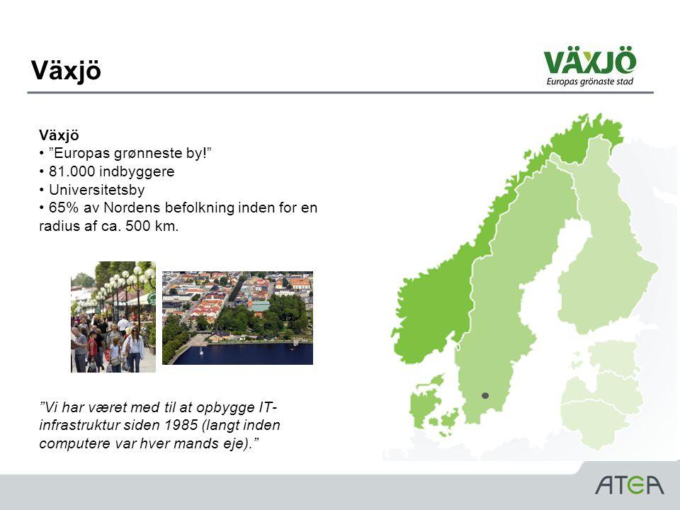 Växjö Växjö Europas grønneste by! 81.000 indbyggere Universitetsby