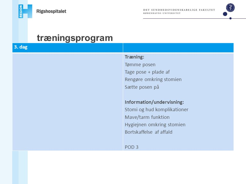 træningsprogram 3. dag Træning: Tømme posen Tage pose + plade af