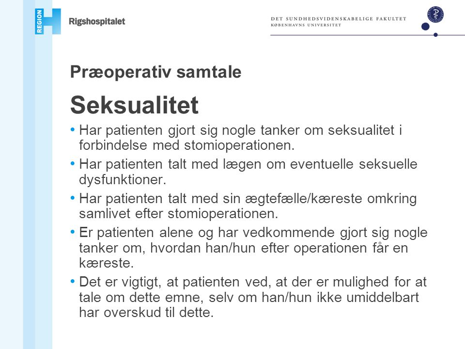 Seksualitet Præoperativ samtale