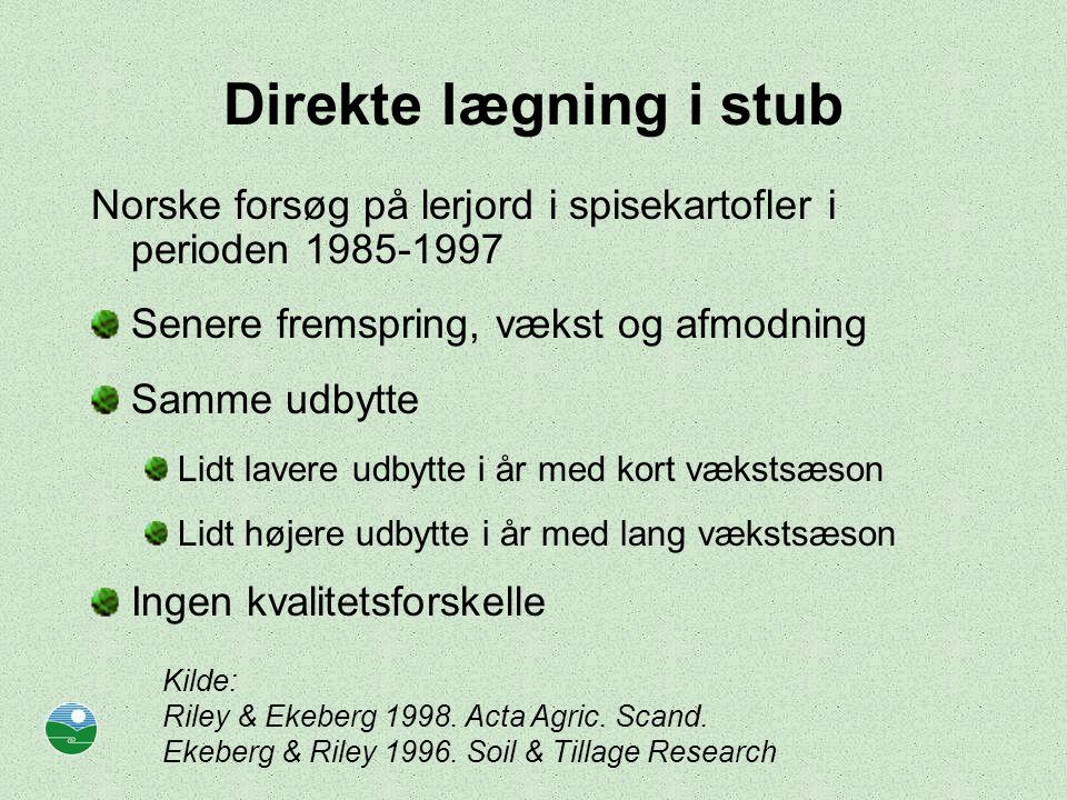 Direkte lægning i stub Norske forsøg på lerjord i spisekartofler i perioden 1985-1997. Senere fremspring, vækst og afmodning.
