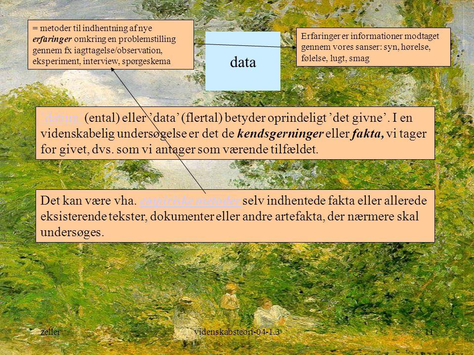 = metoder til indhentning af nye erfaringer omkring en problemstilling gennem fx iagttagelse/observation, eksperiment, interview, spørgeskema