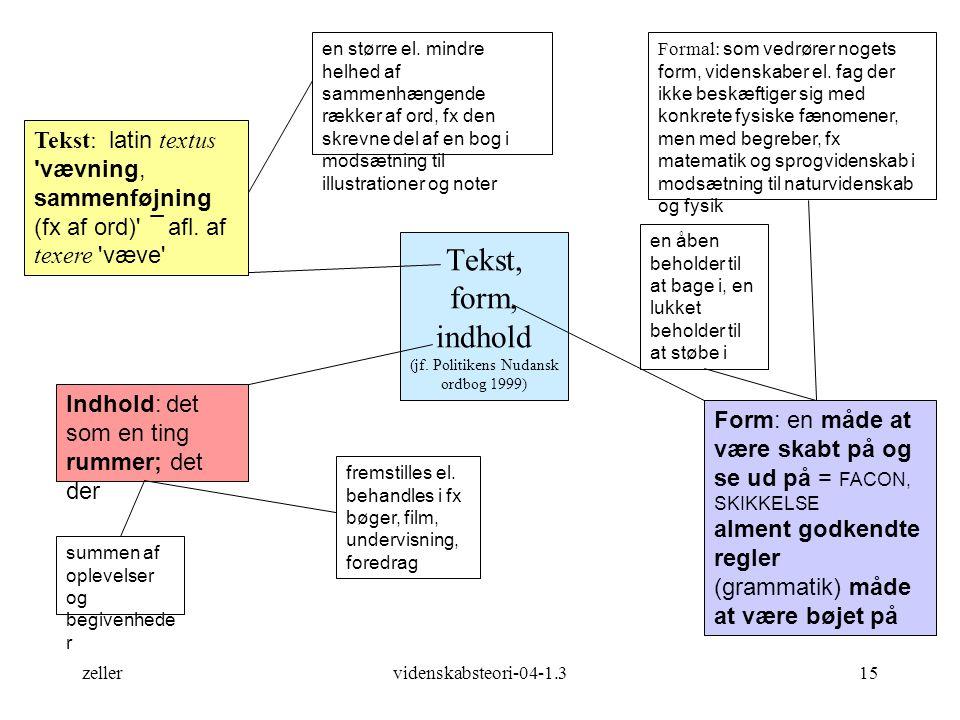 Tekst, form, indhold (jf. Politikens Nudansk ordbog 1999)