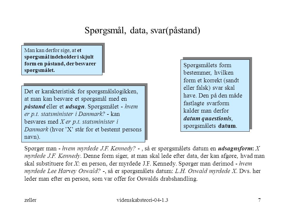 Spørgsmål, data, svar(påstand)