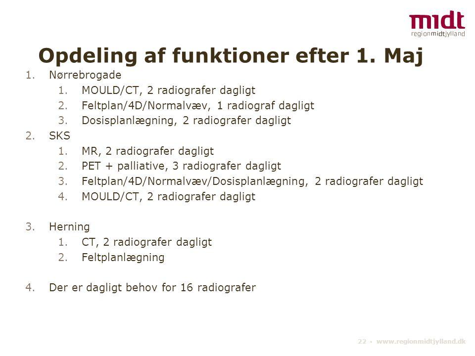 Opdeling af funktioner efter 1. Maj
