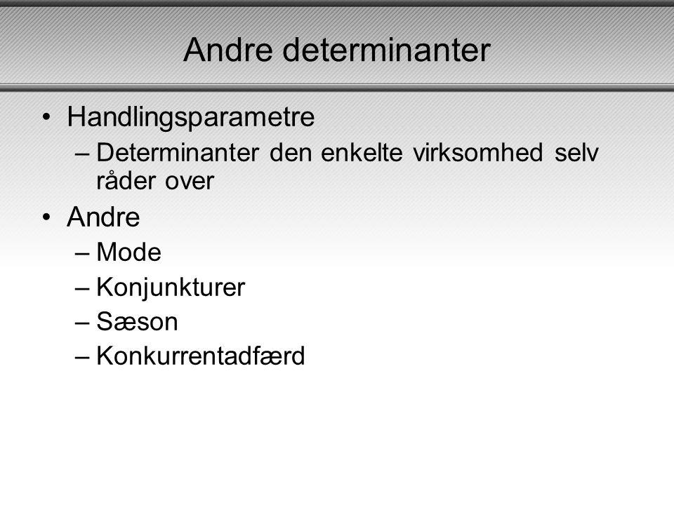 Andre determinanter Handlingsparametre Andre