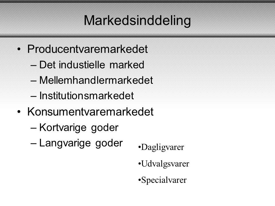 Markedsinddeling Producentvaremarkedet Konsumentvaremarkedet