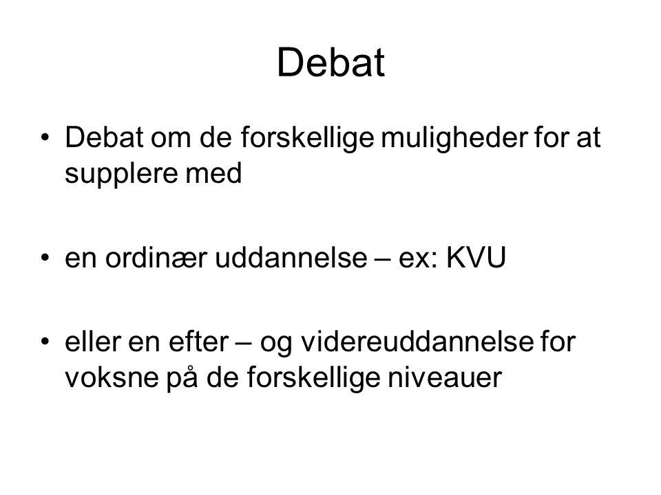 Debat Debat om de forskellige muligheder for at supplere med