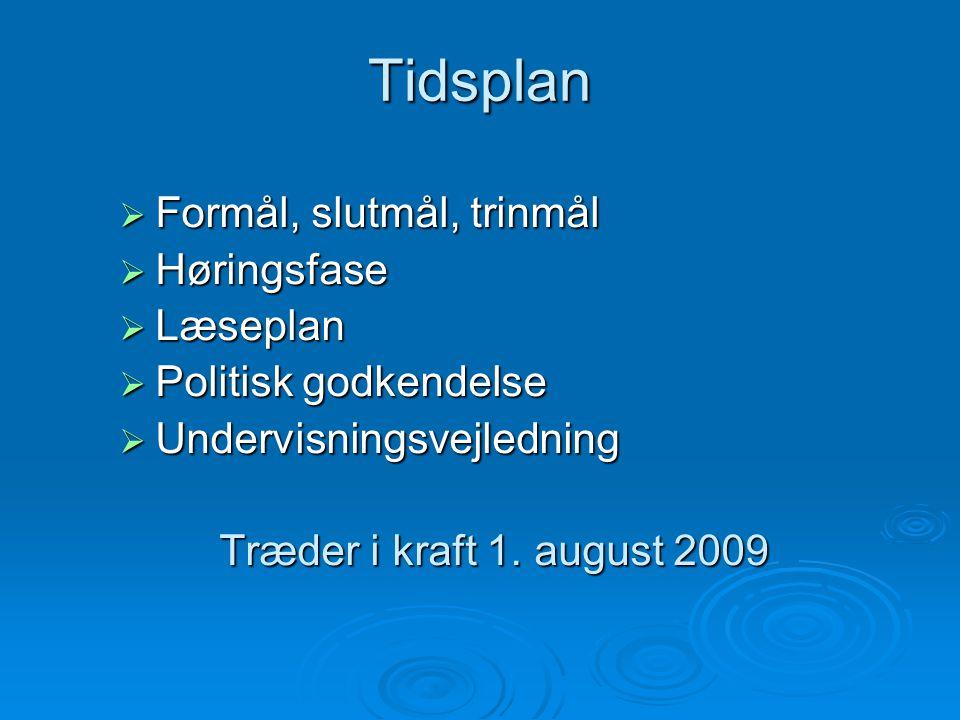 Tidsplan Formål, slutmål, trinmål Høringsfase Læseplan