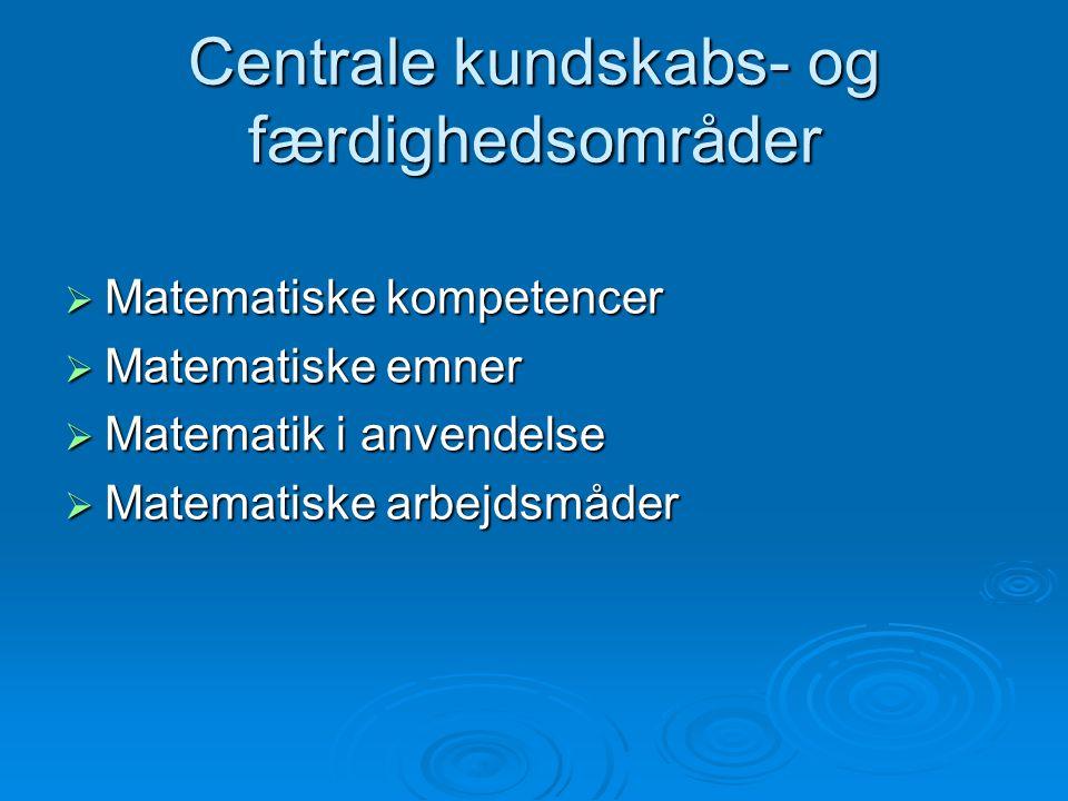 Centrale kundskabs- og færdighedsområder
