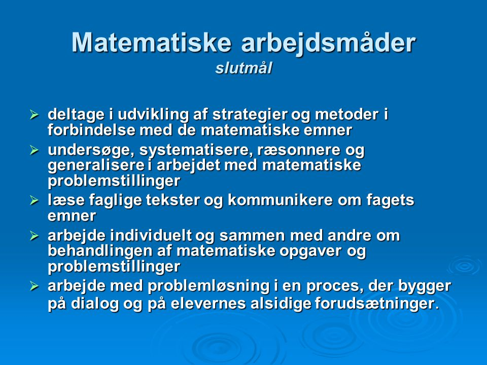 Matematiske arbejdsmåder slutmål
