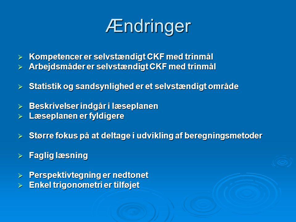 Ændringer Kompetencer er selvstændigt CKF med trinmål