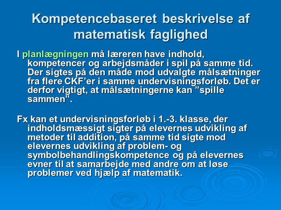 Kompetencebaseret beskrivelse af matematisk faglighed