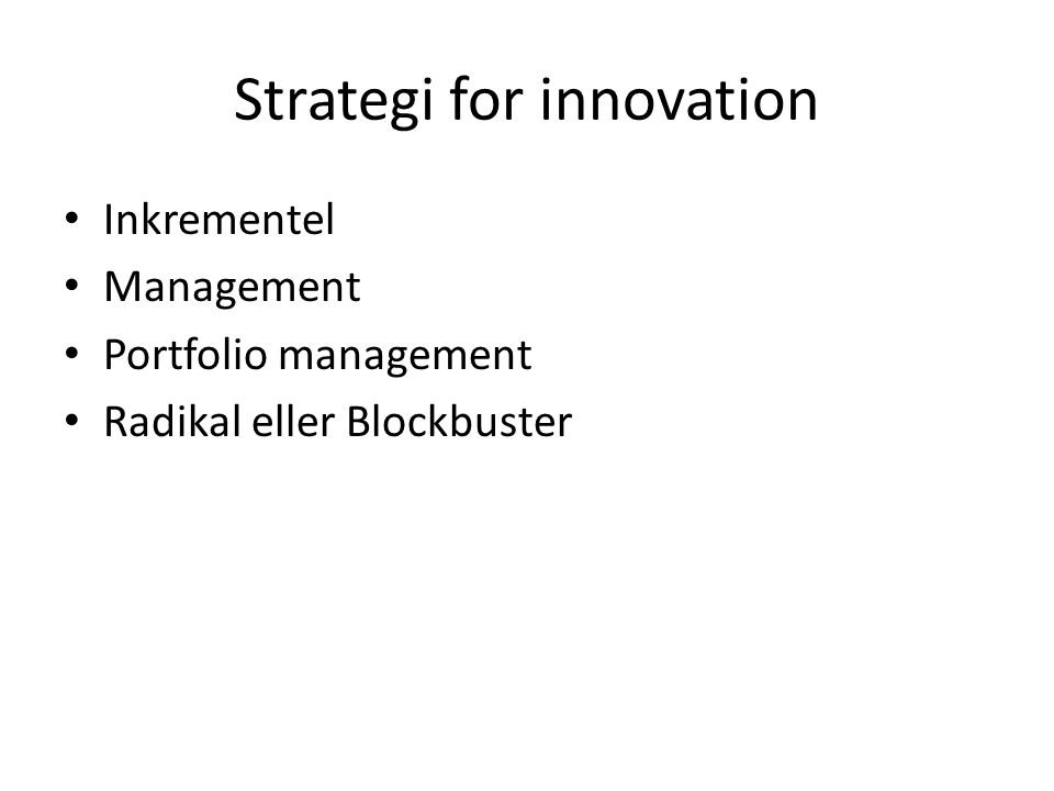 Strategi for innovation