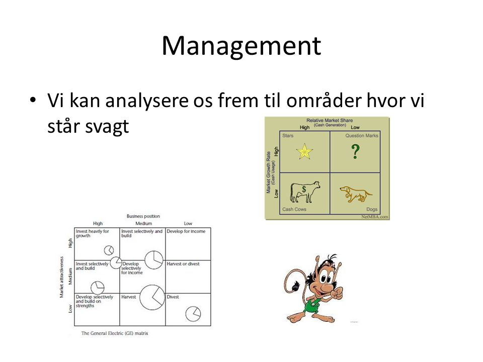 Management Vi kan analysere os frem til områder hvor vi står svagt