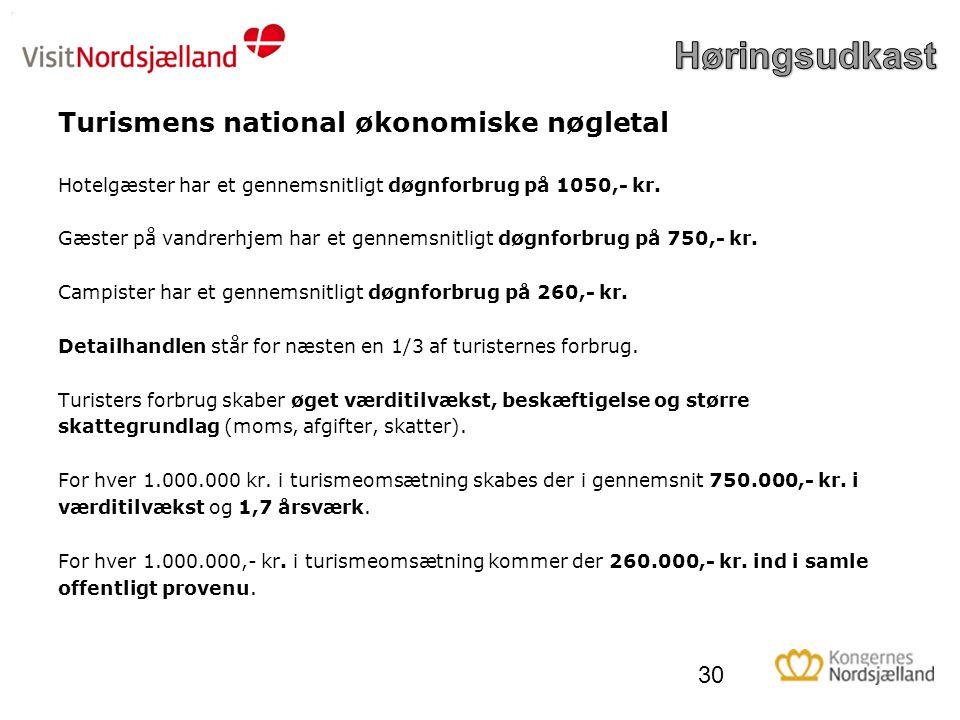 Turismens national økonomiske nøgletal