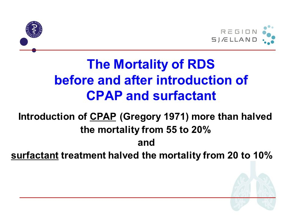Introduction of CPAP (Gregory 1971) more than halved