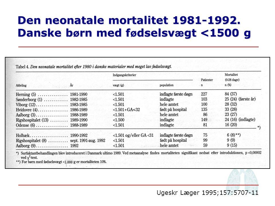 Den neonatale mortalitet 1981-1992