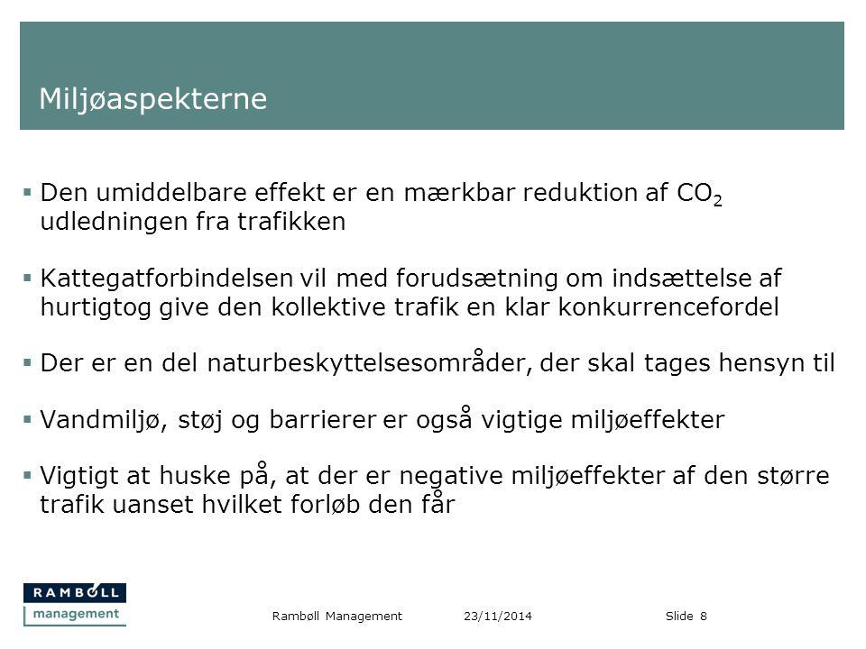 Miljøaspekterne Den umiddelbare effekt er en mærkbar reduktion af CO2 udledningen fra trafikken.