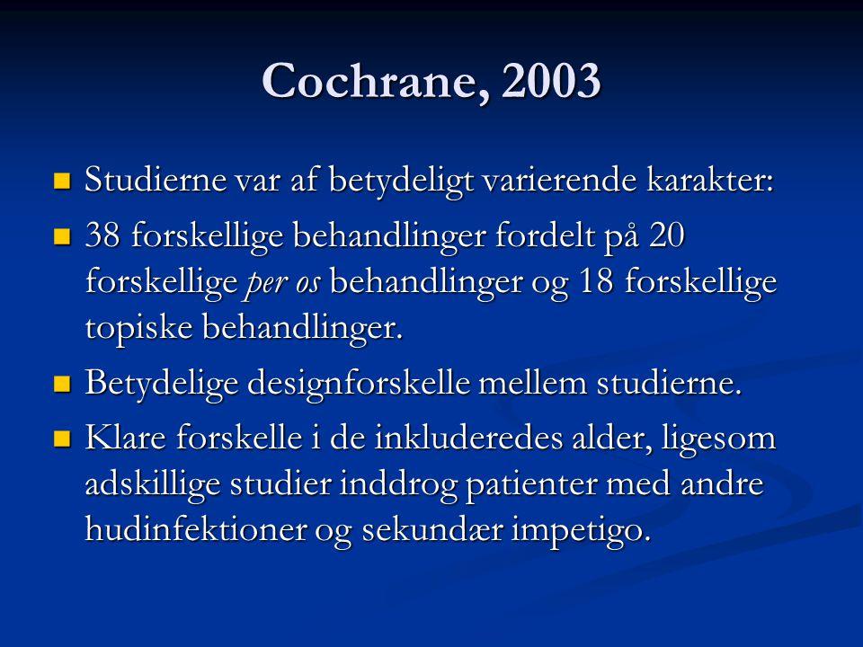 Cochrane, 2003 Studierne var af betydeligt varierende karakter: