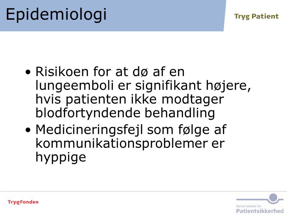 Epidemiologi Risikoen for at dø af en lungeemboli er signifikant højere, hvis patienten ikke modtager blodfortyndende behandling.