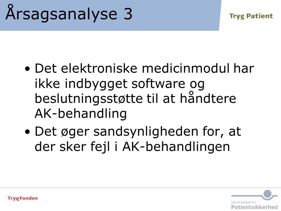 Årsagsanalyse 3 Det elektroniske medicinmodul har ikke indbygget software og beslutningsstøtte til at håndtere AK-behandling.