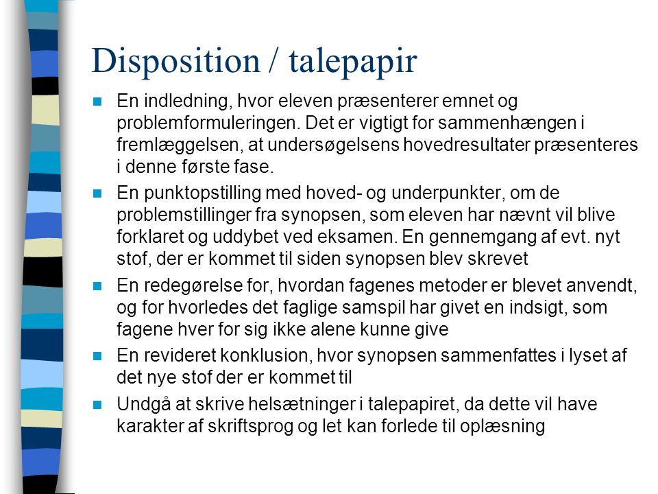 Disposition / talepapir