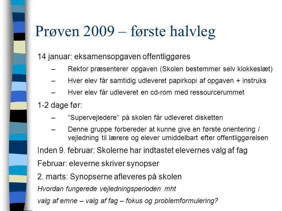 Prøven 2009 – første halvleg