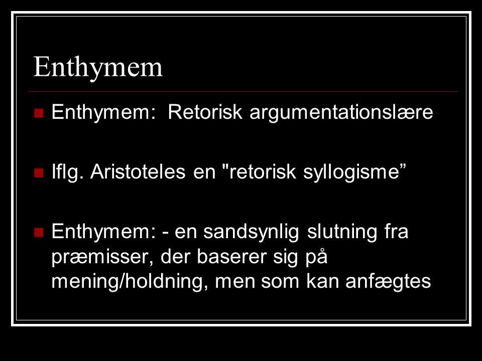Enthymem Enthymem: Retorisk argumentationslære