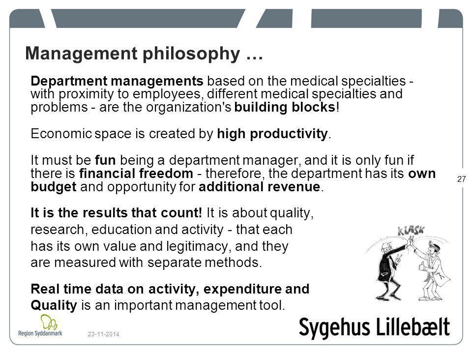 Management philosophy …