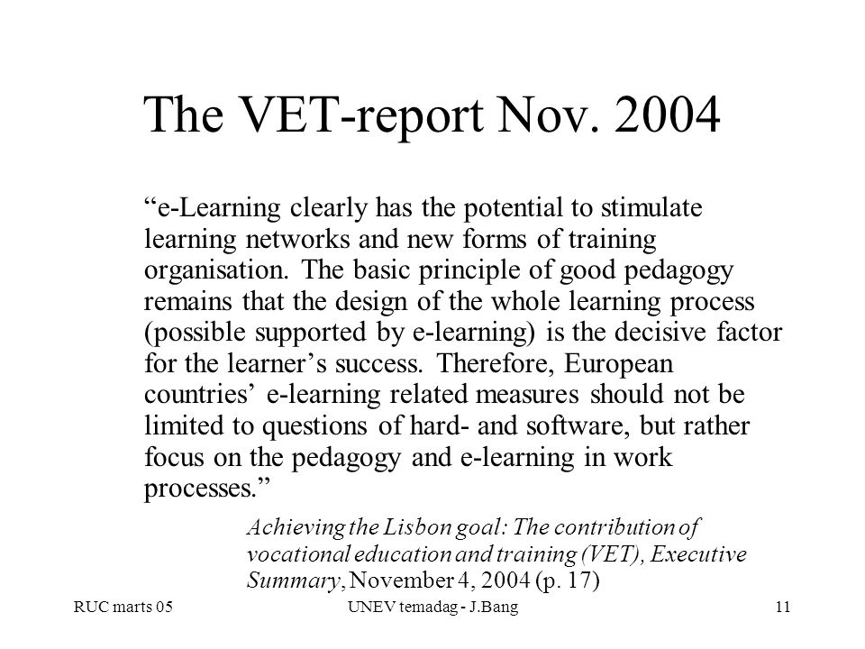 The VET-report Nov. 2004