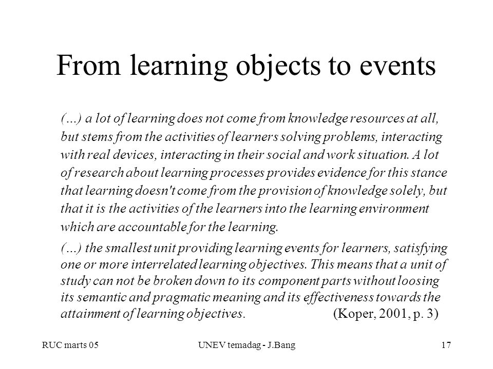 From learning objects to events
