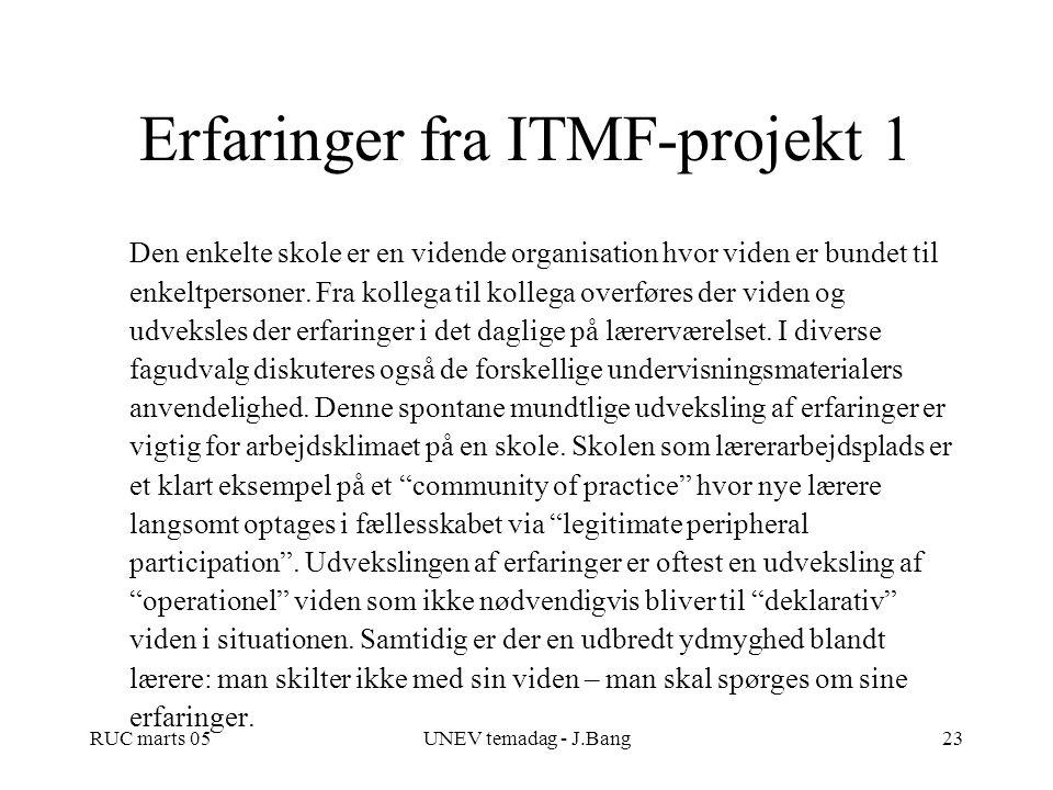 Erfaringer fra ITMF-projekt 1
