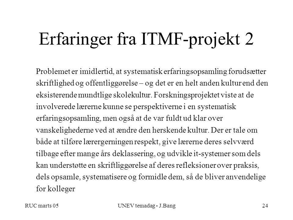 Erfaringer fra ITMF-projekt 2
