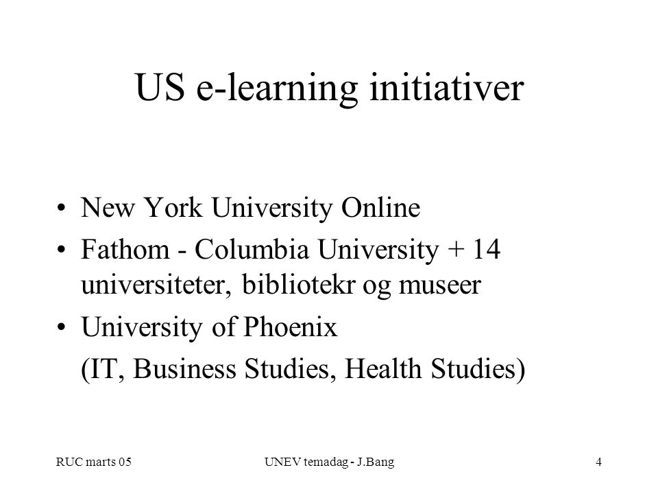 US e-learning initiativer