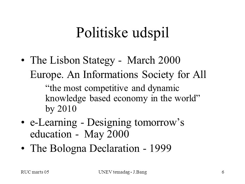 Politiske udspil The Lisbon Stategy - March 2000