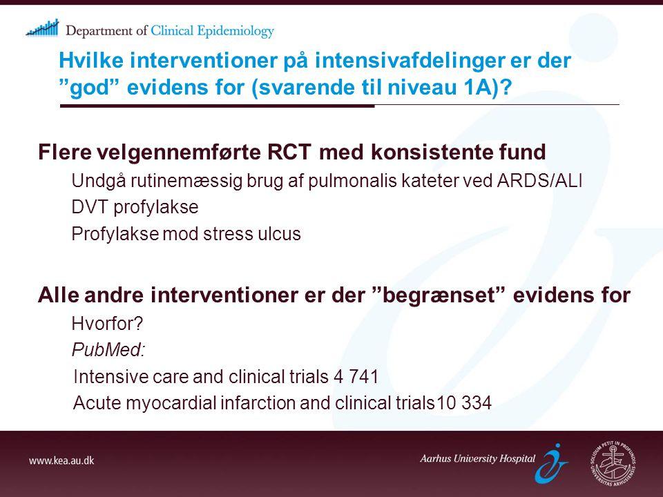 Flere velgennemførte RCT med konsistente fund