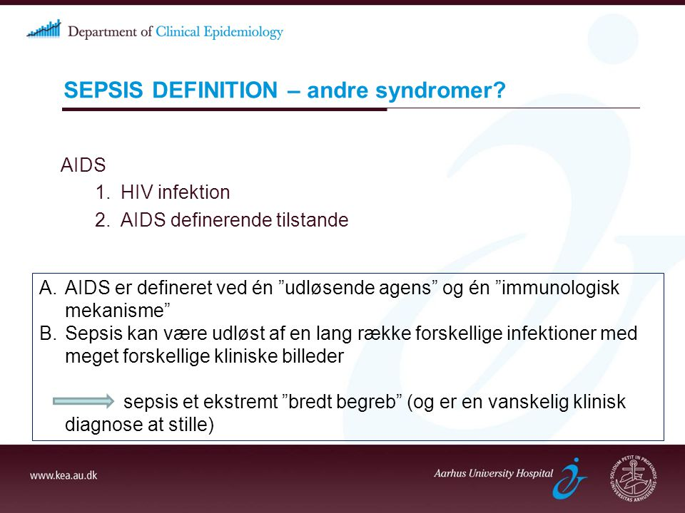 SEPSIS DEFINITION – andre syndromer