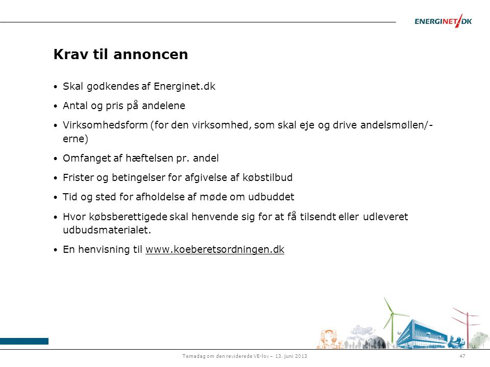 Temadag om den reviderede VE-lov – 13. juni 2013