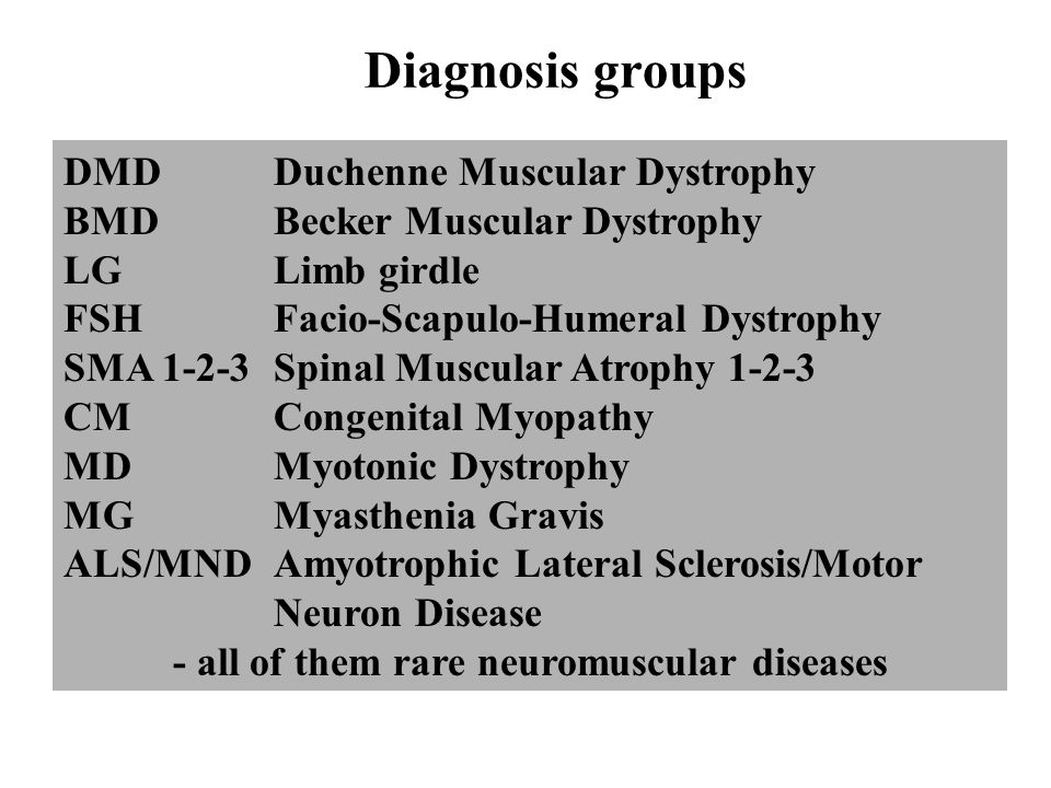 - all of them rare neuromuscular diseases