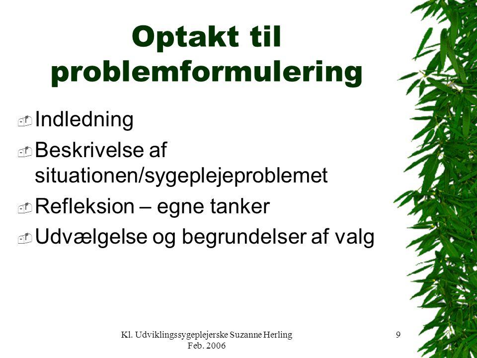 Optakt til problemformulering