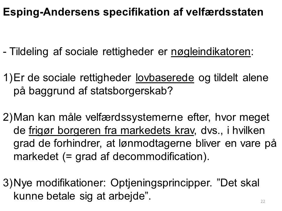 Esping-Andersens specifikation af velfærdsstaten