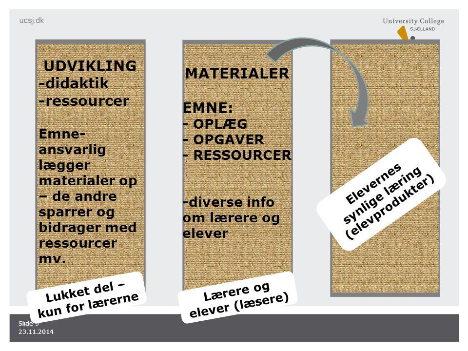 UDVIKLING MATERIALER -didaktik -ressourcer EMNE: - OPLÆG