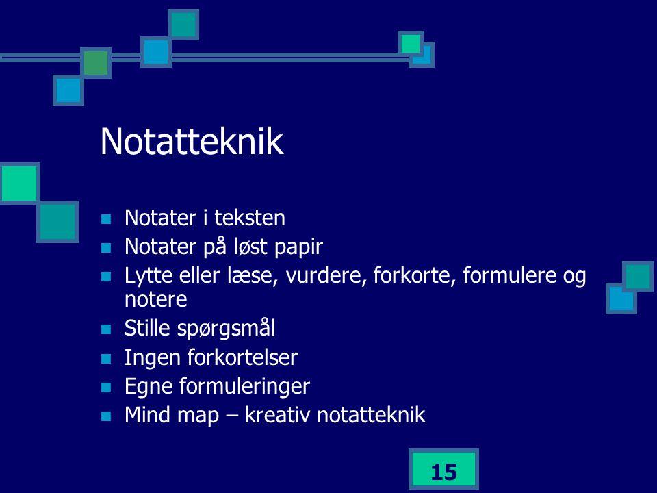 Notatteknik Notater i teksten Notater på løst papir